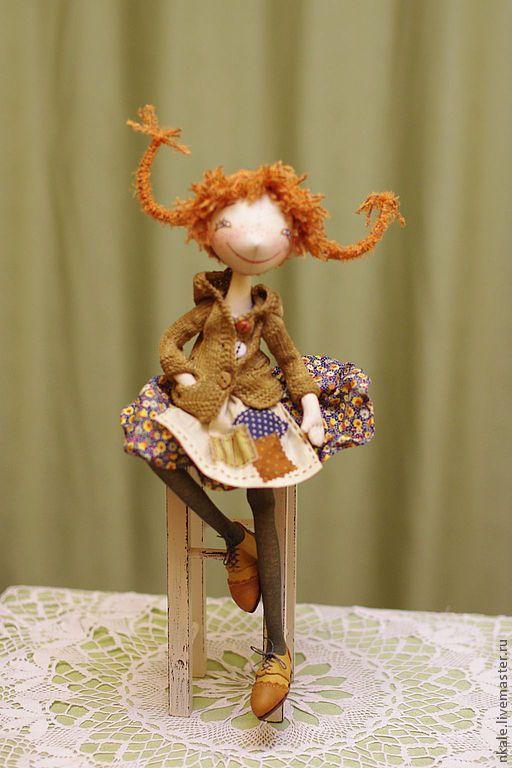 Купить Пеппи - подарок, Пеппи, интерьерная кукла, nkale, оранжевый, 100% хлопок, синтепух, проволока