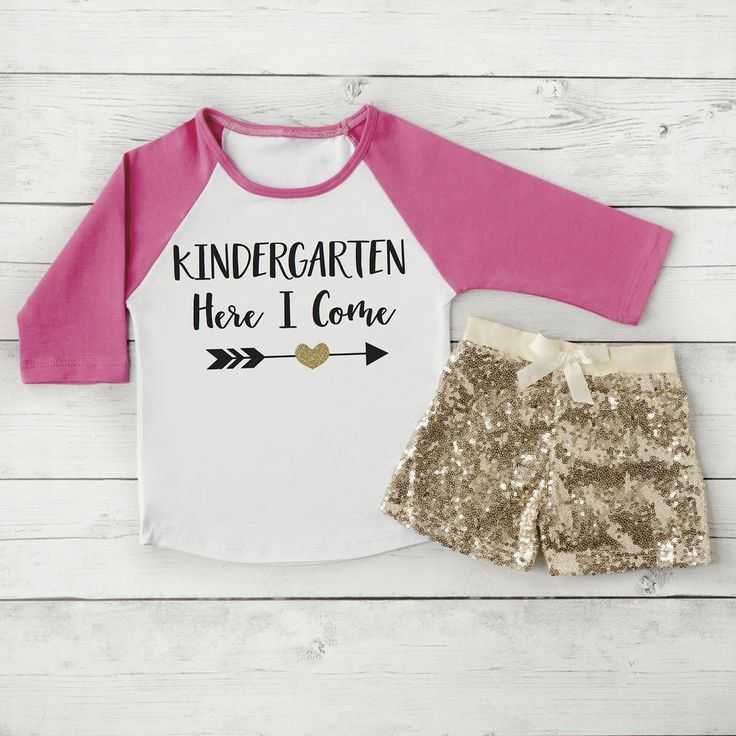 Kindergarten Shirt and Shorts, Back to School Outfit, 1st Day of Kindergarten Outfit Girls Back to School Shirt First Day of School 298 #1st_day_of_school #back_to_school #Children