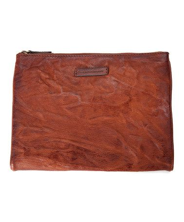 This Cognac Michelle Leather Tech Clutch is perfect! #zulilyfinds