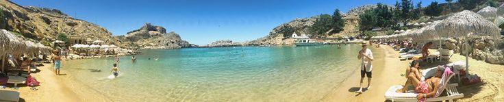 St. Paul's #Beach Panorama at Lindos!!!  #Rhodes #Rodos #Greece