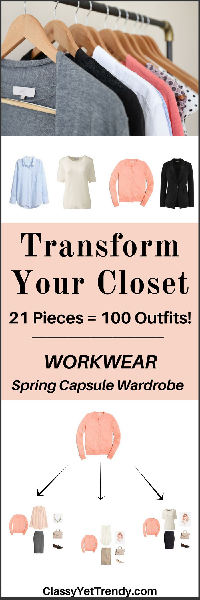 "IS YOUR CLOSET FULL OF CLOTHES, BUT YOU ""HAVE NOTHING TO WEAR TO WORK""? YOU NEED…   The Workwear Capsule Wardrobe e-Book: Spring 2017 Collection!   A complete workwear capsule wardrobe guide for the Spring season, perfect for the office! With all clothes and shoes selected for you PLUS, 100 outfit ideas..."