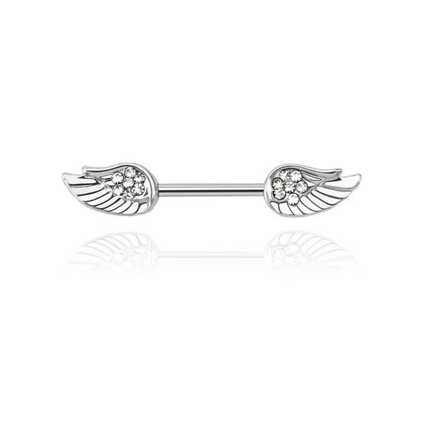 Diamonte Wings Nipple Bar - Cute little angel wing, decorated with Austrian crystals nipple piercing. Material:316L Medically graded Surgical steel bar & Austrian crystal stones. Gauge: 14g Bar size: 12mm Size of each wing: 1cm W x 0.6cm H
