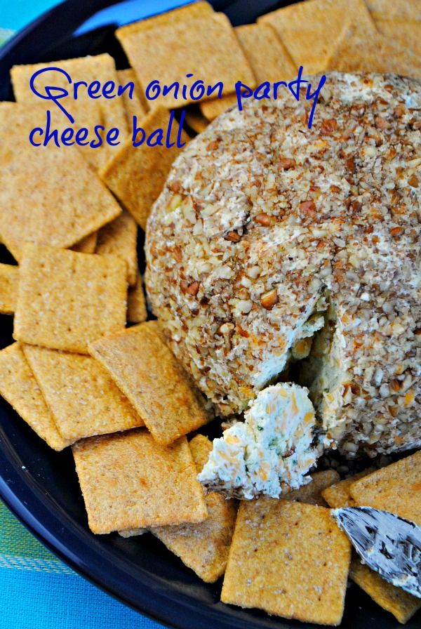 Green Onion Party Cheese Ball. Just made this tonight but instead of green onions put bacon bits in :)