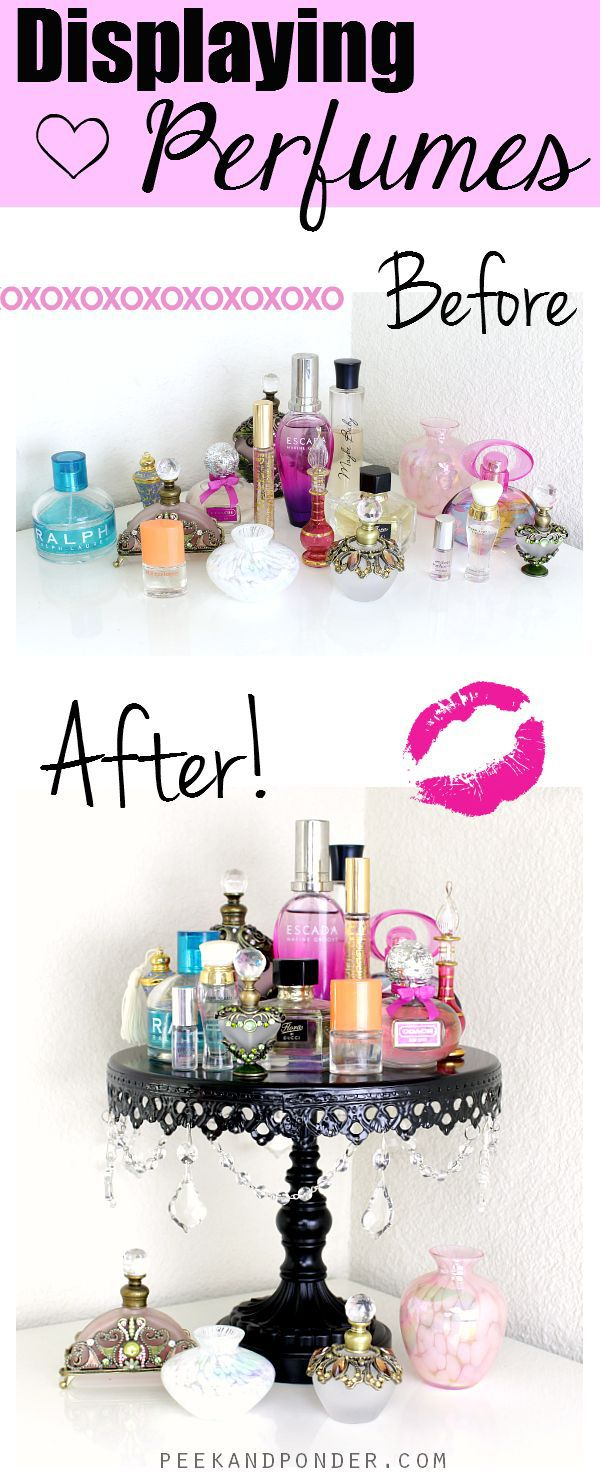 6. Don't let a ton of perfume bottles clutter up a big space. Instead, buy a cake or cupcake stand that takes up less room while still holding all your stuff. You can put anything on this, not just perfume!