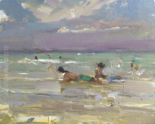 """Daily+Paintworks+-+""""Beach+Painting+Ocean,+Rain+Approaching+and+Kids""""+-+Original+Fine+Art+for+Sale+-+©+Roos+Schuring"""