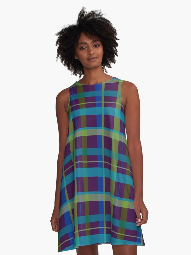 Plaid Pattern A-Line Dress by Scar Design. #dress #fashion #style #giftsforher #family #women #woman #alinedress #modern #redbubble #scardesign #art #artist #shopping #online  #clothing #plaid #purple #lime • Also buy this artwork on apparel, stickers, phone cases, and more.