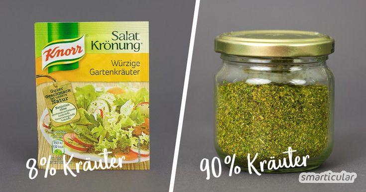 Salat-Kräutermischung auf Vorrat selber machen – nie mehr Tütendressing