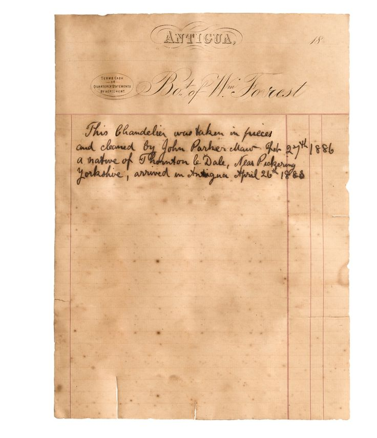Copy of the letter found in the Antigua chandelier