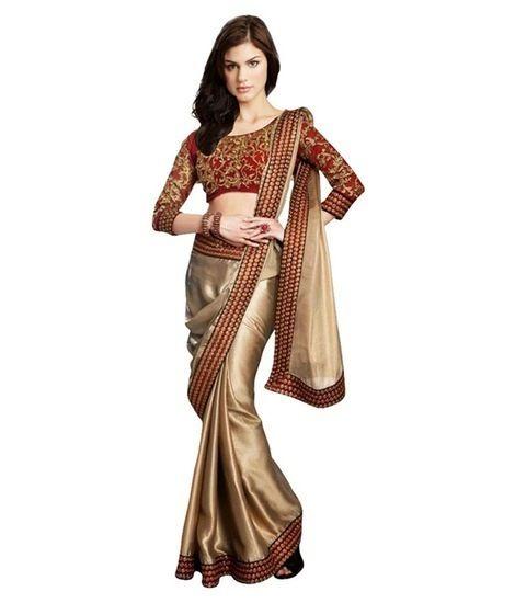 Buy B BELLA CREATION GOLDEN SATIN DESIGNER SAREE Online India - 3273607