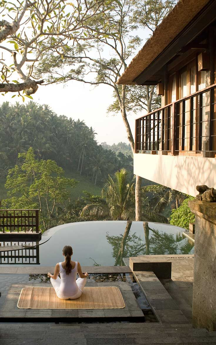 Meditate in the peaceful surroundings of your own private villa and the lush jungle valley at Kamandalu Ubud. #Indistay | Bali, Indonesia