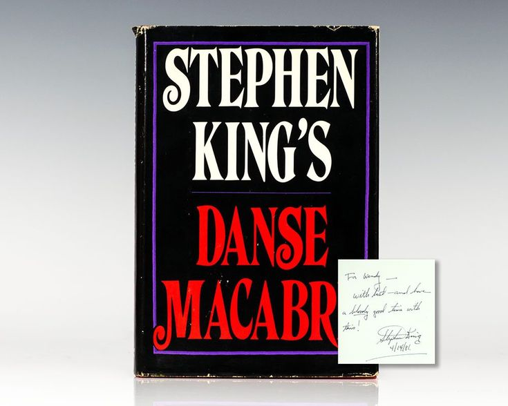 """Danse Macabre. First editionof """"one of the best books on American popular culture"""" (Philadelphia Inquirer). Octavo, original half cloth. Inscribed by Stephen King in the year of publication on the front free endpaper. Fine in a near fine dust jacket with a few closed tears."""