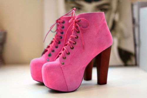 Fashion Shoes, Ankle Boots, Pink Heels, Hot Pink, Jeffrey Campbell, High Heels, Pink Shoes, Girls Shoes, Pink Boots