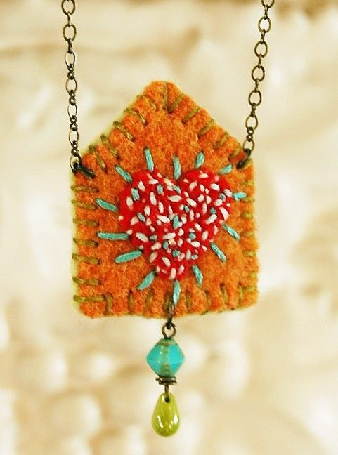 happy house felt necklace with beads, embroidery via Etsy