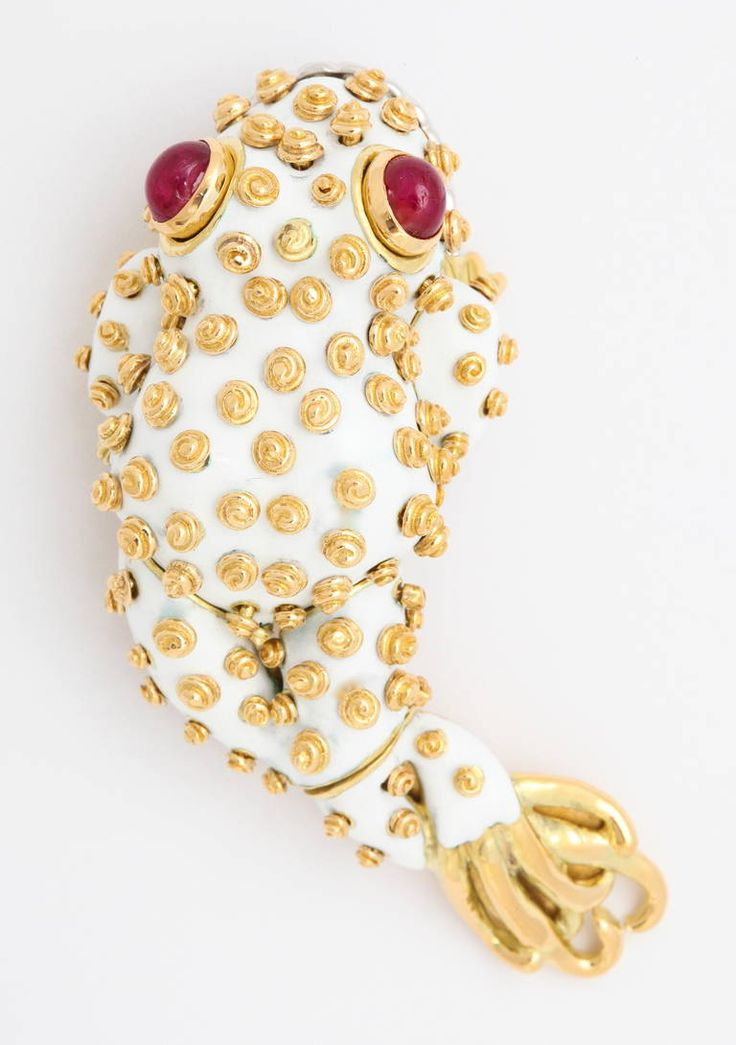 David Webb Leapfrog Brooch | From a unique collection of vintage brooches at https://www.1stdibs.com/jewelry/brooches/brooches/