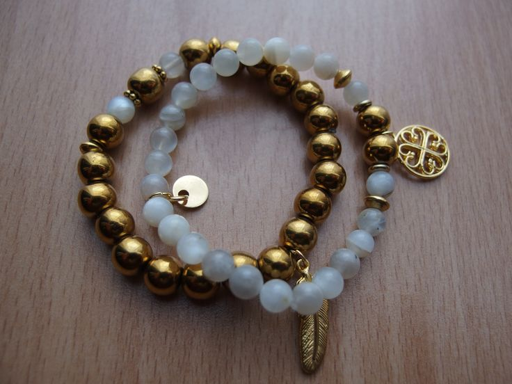 gold hematite, moonstone