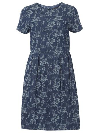 Tall Midwash Print Denim Dress