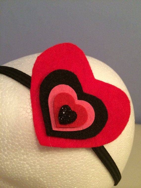 Big Love Sparkly Heart Headband by LittleBugBling on Etsy
