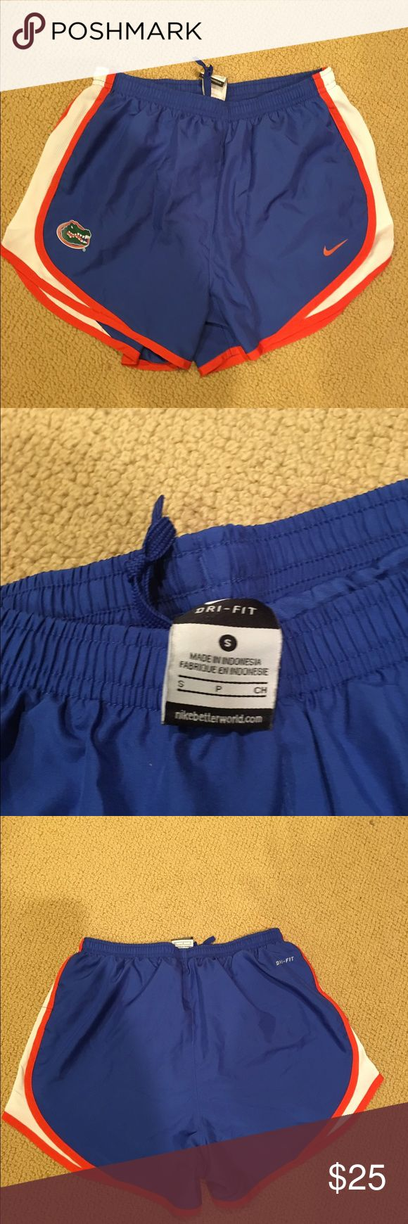 Nike Gator Dri Fit Shorts Nike Gator Dri Fit Shorts. These UF gator Nike Dri Fit shorts. Have built in liner. In excellent condition. Size small Nike Shorts