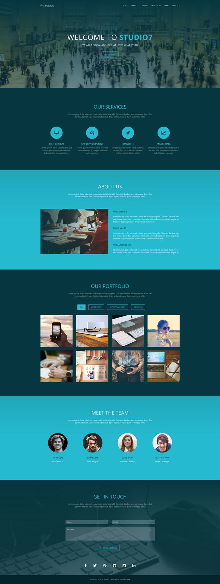 Studio7 is a free one page website template for agencies, creatives and small businesses.