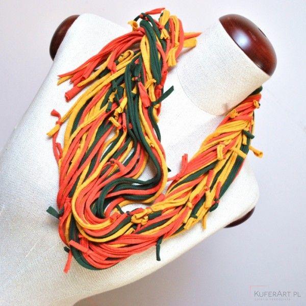 Zamotka jesień musztardowa - Naszyjniki, korale - Biżuteria artystyczna
