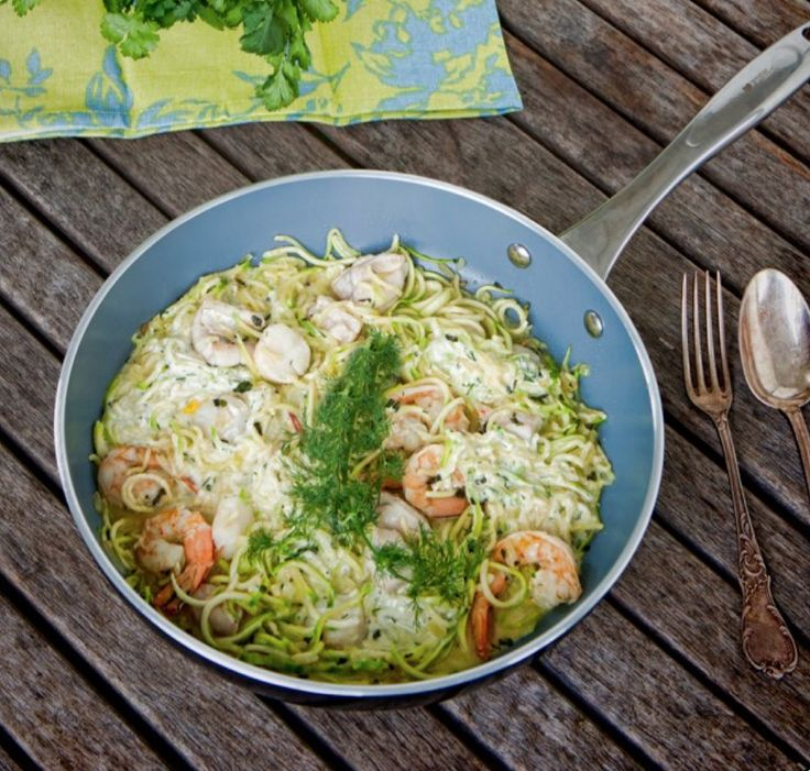 Creamy Seafood Pasta with Zoodles. Made with delicious fresh herbs like basil and dill. I've included boneless white fish, scallops and prawns, but feel free to add whichever seafood you prefer. From the new Paleo and SCD compliant 'Essential Healing Foods' e-book Gluten-free, grain-free, refined sugar-free and dairy-free. Head to the website to download!