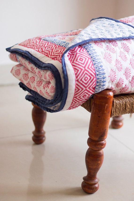 Block print quilt - Twin size - Nautical inspired - Coral and Blue - Reversible cotton throw blanket