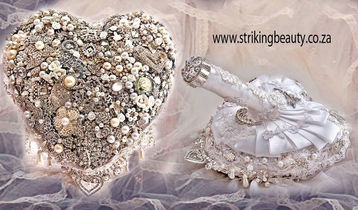 Heart shaped brooch bouquet with intricate and outstanding workmanship - made by hand with artistic attention to detail - www.strikingbeauty.co.za