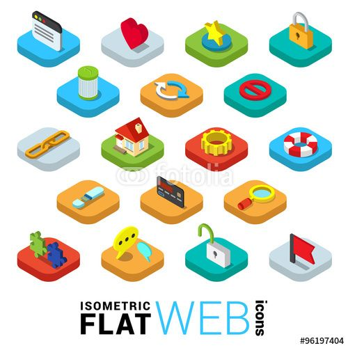 Vector: Web surfing mobile app flat 3d icons: window like favorite lock