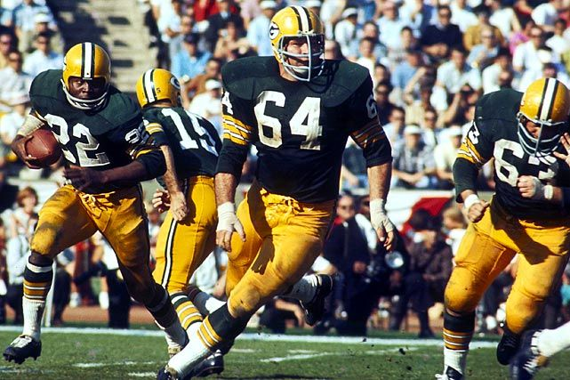 "#64 Jerry Kramer / 11-year NFL career with the Green Bay Packers as an offensive lineman. As a 6 ft 3 in, 245-pound right guard, Kramer was an integral part of the famous ""Packer Sweep"". Kramer was an All-Pro five times, and a member of the NFL's 50th anniversary team in 1969, but surprisingly has not been inducted into the Hall of Fame. He was rated #1 in NFL Network's Top 10 list of players not in the Hall of Fame. 5 NFL titles and 2 Super Bowls aren't enough??"