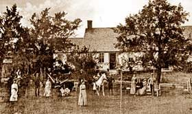 """""""The Conjuring"""" film's real farmhouse (Arnold estate) circa 1885, suspected witch Bathsheba is thought to be in this picture (unknown which person) ."""