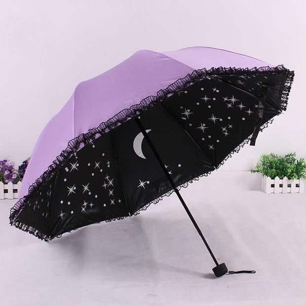 Korean Stylish Black Lace Parasol Creative Folding Umbrella Anti-uv Vinyl Women's Sun Rain Umbrellas