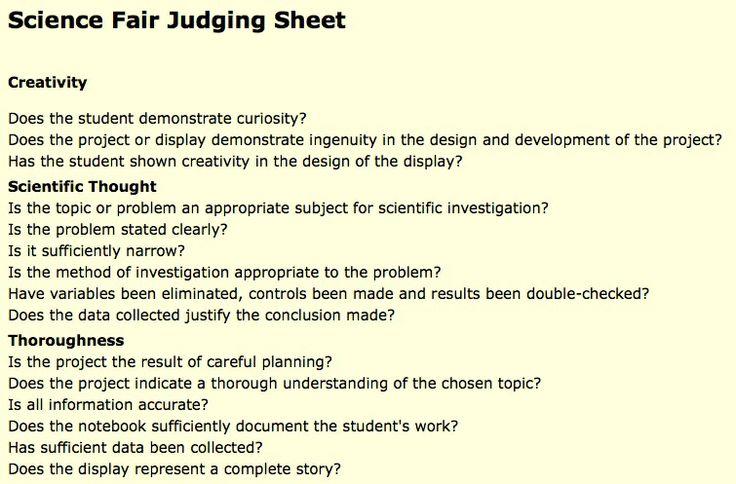 http://sciencefairproject.virtualave.net/judging_sheet.htm Goede inspiratiebron voor evaluatie en beoordeling van leerlingenproeven of wetenschappelijke projecten.