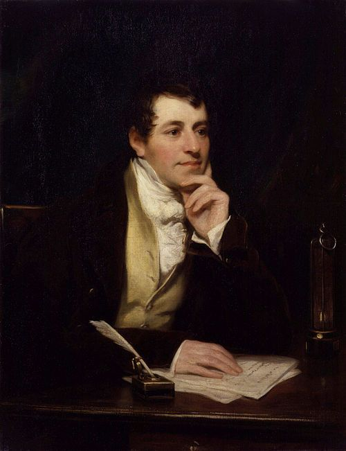 RR22.15 'It had all started with a lecture at the Royal Society by Mr Humphry Davy' This pic - Sir Humphry Davy, Bt by Thomas Phillips. Davy was apprenticed to a surgeon, became fascinated with his work as an apothecary, learned French, read the works of Lavoisier and was soon doing his own experiments.