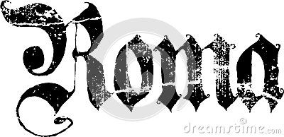 Roma sign  © Morgan Capasso Grunge illustration of a black Roma sign in gothic lettering, white background.