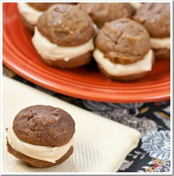 Pumpkin Whoopie Pies with Caramel Cream Cheese Filling. Bought this ...