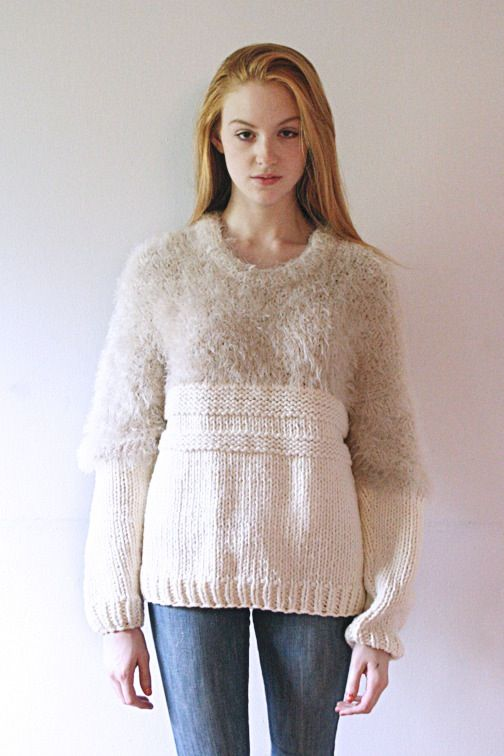Super soft, super warm, super cozy. 100% Wool Dry Clean Only Hand Knit in the USA Model is wearing a size small. Since the sweater is made to order...