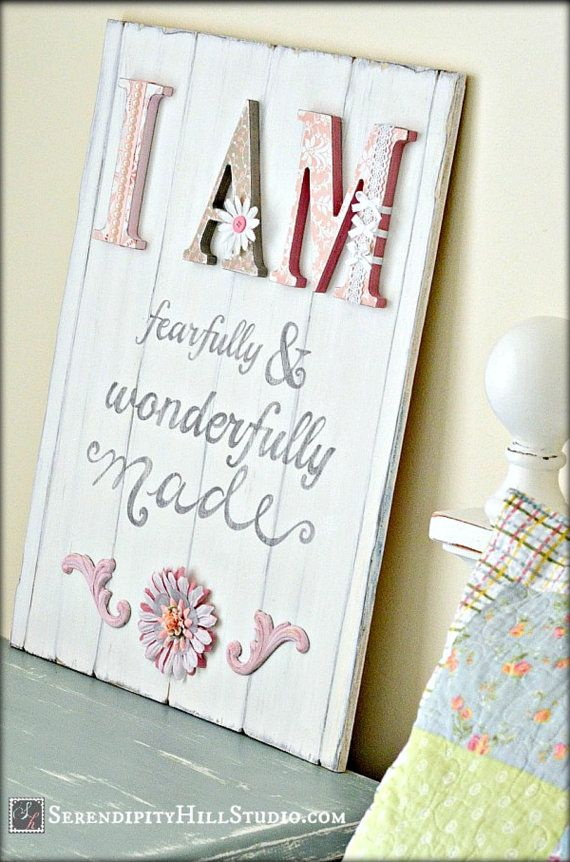 Fearfully and wonderfully made custom sign, vintage style wood, cottage chic, shabby chic nursery, kids art. 100% made to order.