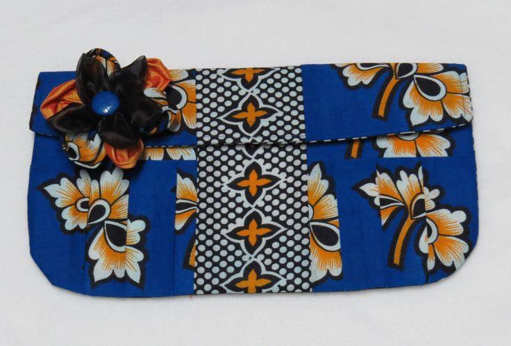 Kanga clutch purse with kanga & organza clip.
