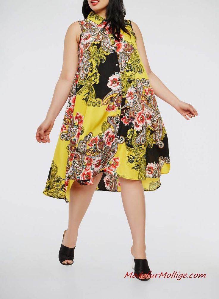 gelbes Midiblumenkleid für mollige damen #mode #d…