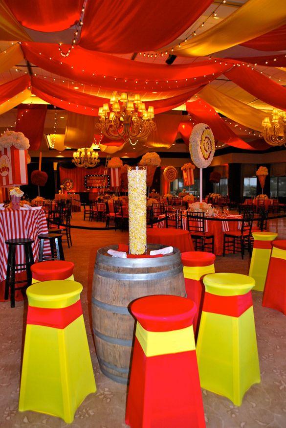 Carnival Theme Wedding, Mitzvah - Popcorn Centerpieces - mazelmoments.com