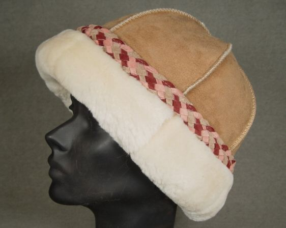 Sheepskin Hat with Pink trim Made in the USA