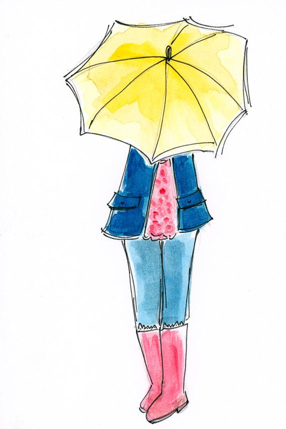 Umbrella girl  Illustrated flat note card by MerryLadybug on Etsy, $1.50
