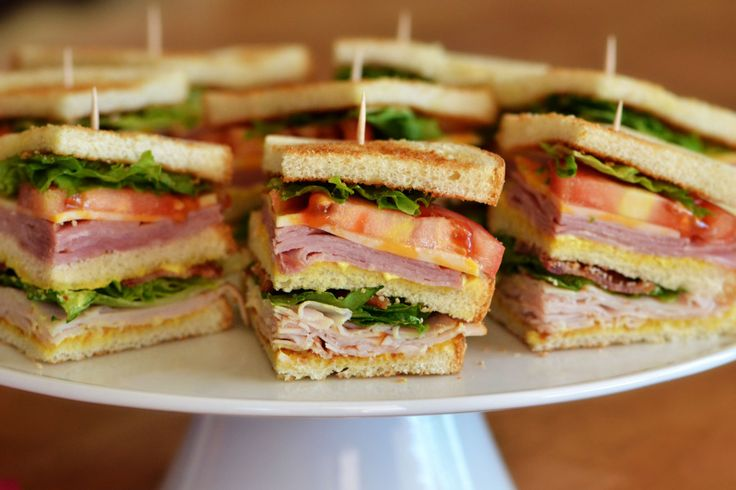 Club sandwiches! Loaded with ham, turkey, bacon and cheese. Just like the classic!