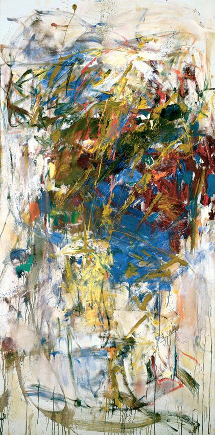 Le Chemin des Ecoliers, 1960. Oil on canvas, 76 3/4 x 38 1/8 inches (194.9 x 96.8 cm). Collection of the Joan Mitchell Foundation, New York.