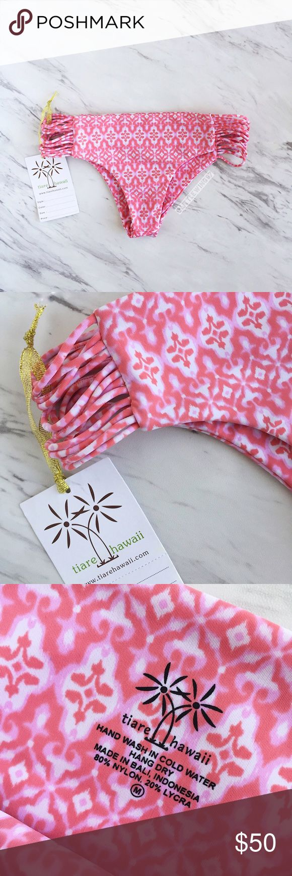 Tiare Hawaii strappy pink bikini bottoms Tiare Hawaii | 'Pebbles' strappy bikini bottoms in a bright pink and white pattern. These bikini bottoms feature criss cross side straps, brief cut, and an allover print. Fully lined. New with tags; no hygienic liner.   Size: M Tiare Hawaii Swim Bikinis
