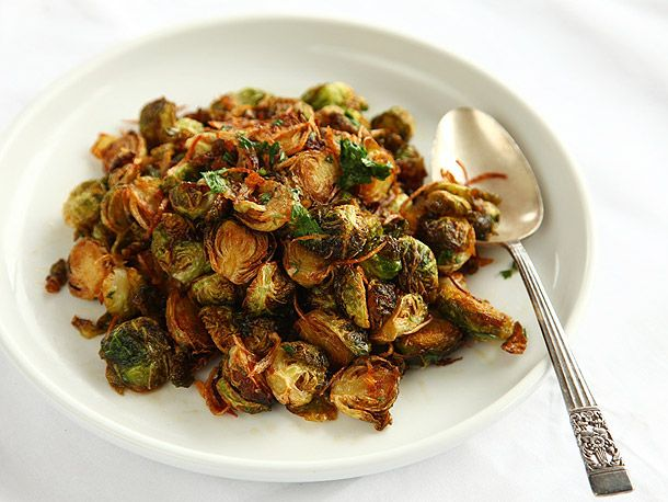 Fried Brussels Sprouts with Shallots, and Chilies - Though I would probably leave out the chilies...