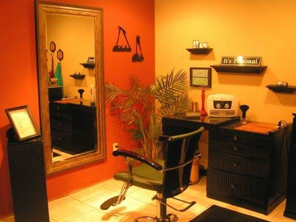 small space accent wall beauty salon