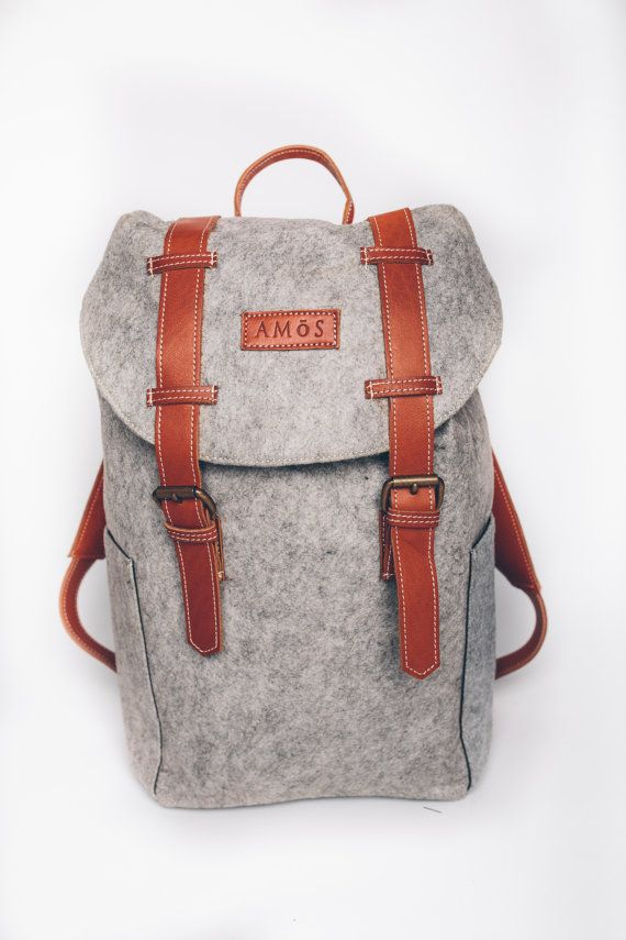 Wool Felt Backpack with Genuine Leather Shoulder Straps and Trimmings // Daypack with Internal Laptop Pocket // Amōs - The Jeffrey Daypack