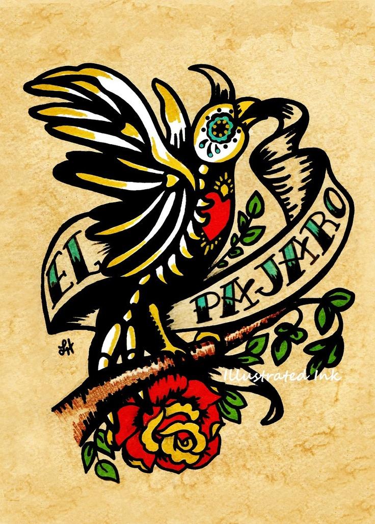 Day of the Dead Tattoo Art EL PAJARO Loteria