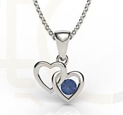 Wisiorek z białego złota z szafirem / Pendant made from white gold with sapphire / 742 PLN / #jewellery #pendant #wisiorek #heart #sapphire #szafir